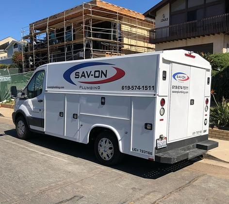 Savon Plumbing Truck on a Chula Vista Service Call